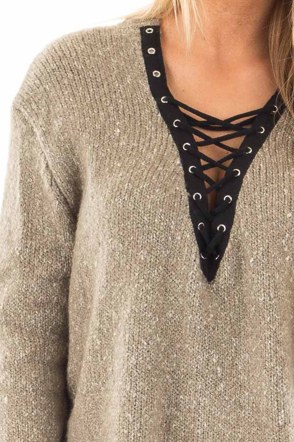 Dusty Olive Two Tone Sweater with Lace Up Neckline detail
