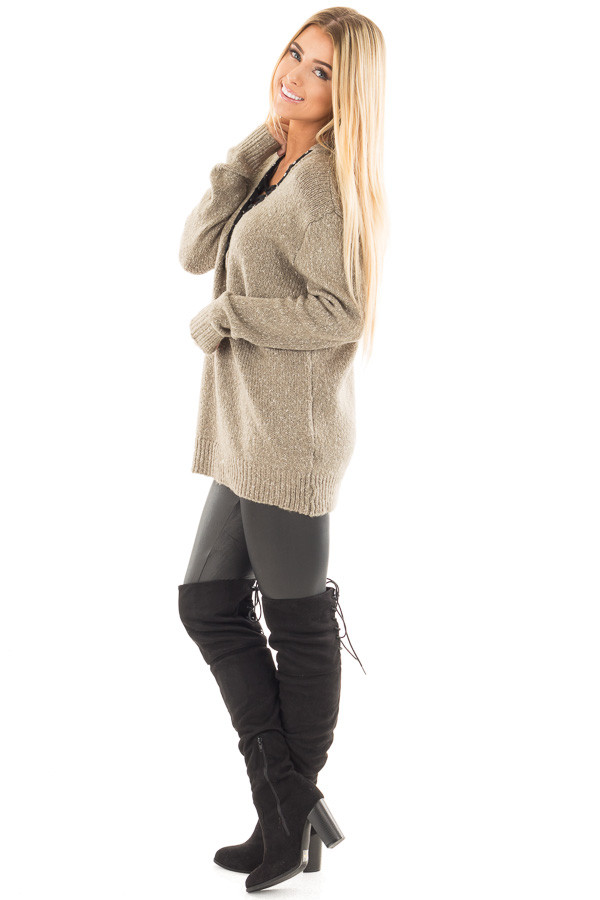 Dusty Olive Two Tone Sweater with Lace Up Neckline side full body