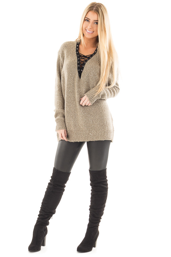 Dusty Olive Two Tone Sweater with Lace Up Neckline front full body