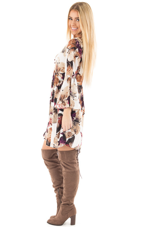 Berry and Ivory Floral Print Dress with Bell Sleeves side full body