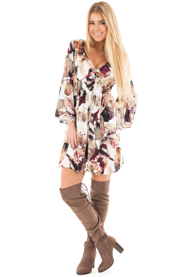 Berry and Ivory Floral Print Dress with Bell Sleeves front full body