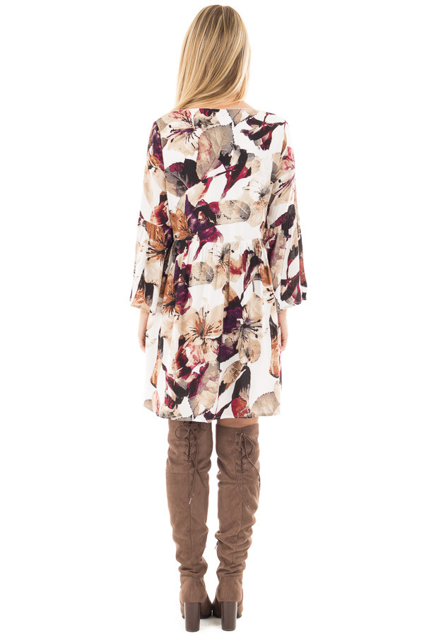 Berry and Ivory Floral Print Dress with Bell Sleeves back full body