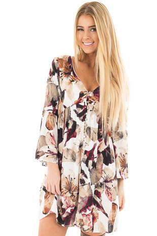 Berry and Ivory Floral Print Dress with Bell Sleeves front close up
