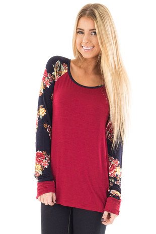 Burgundy Long Sleeve Tee with Navy Floral Print Sleeves front close up