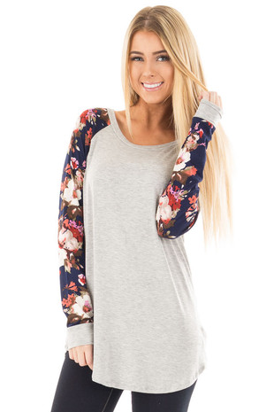 Heather Grey Baseball Top with Navy Floral Print Sleeves front close up