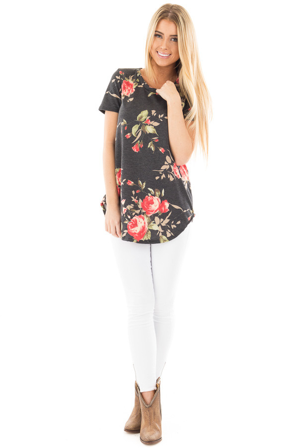 Charcoal French Terry Floral Print Short Sleeve Top front full body