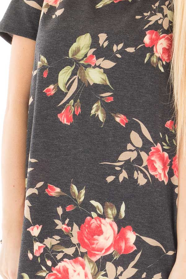 Charcoal French Terry Floral Print Short Sleeve Top detail