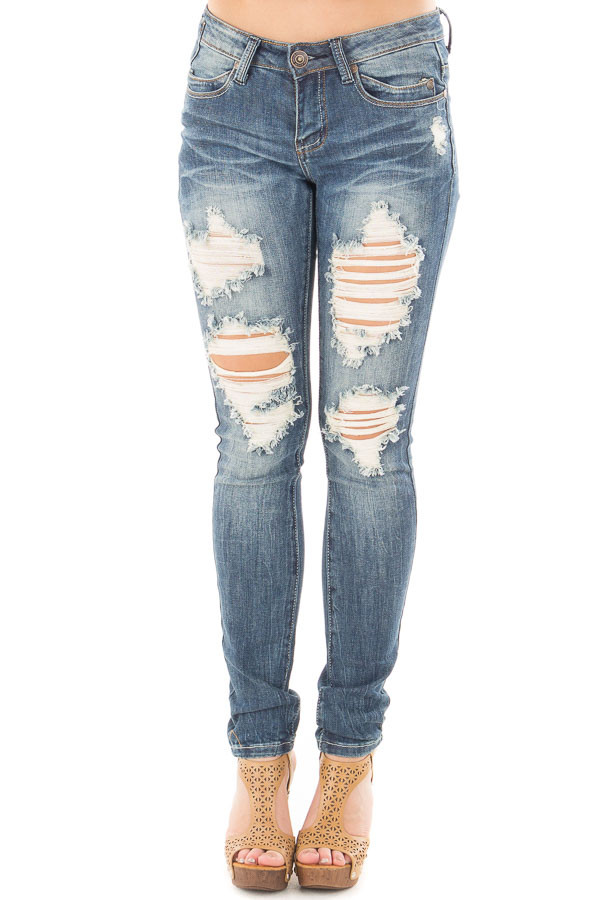 Medium Wash Shredded Design Skinny Jeans back view