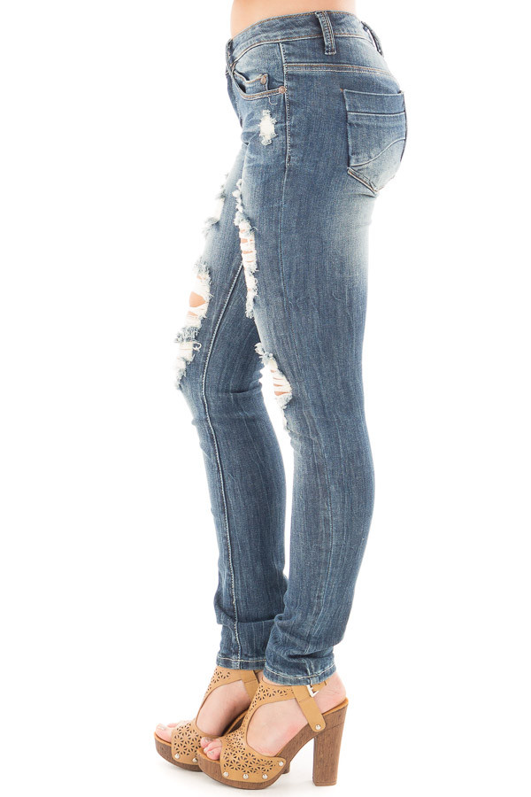Medium Wash Shredded Design Skinny Jeans side right leg