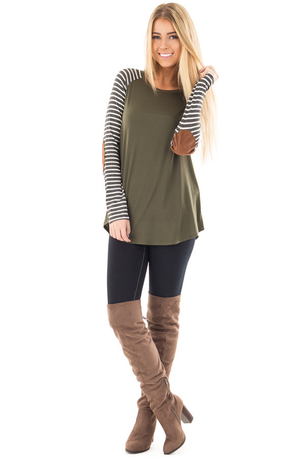 Olive Top with Striped Raglan Sleeves and Elbow Patches front full body
