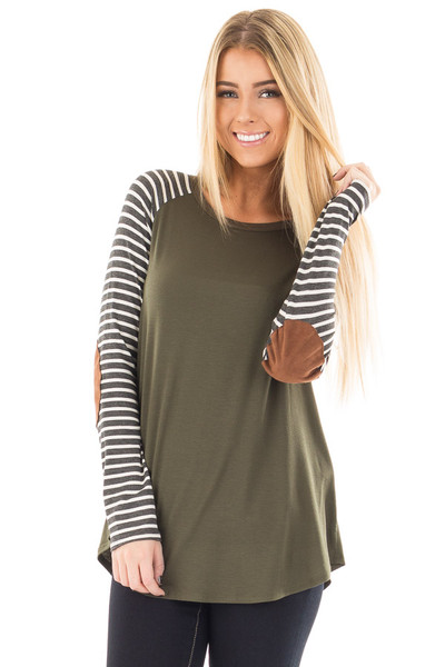 Olive Top with Striped Raglan Sleeves and Elbow Patches front close up