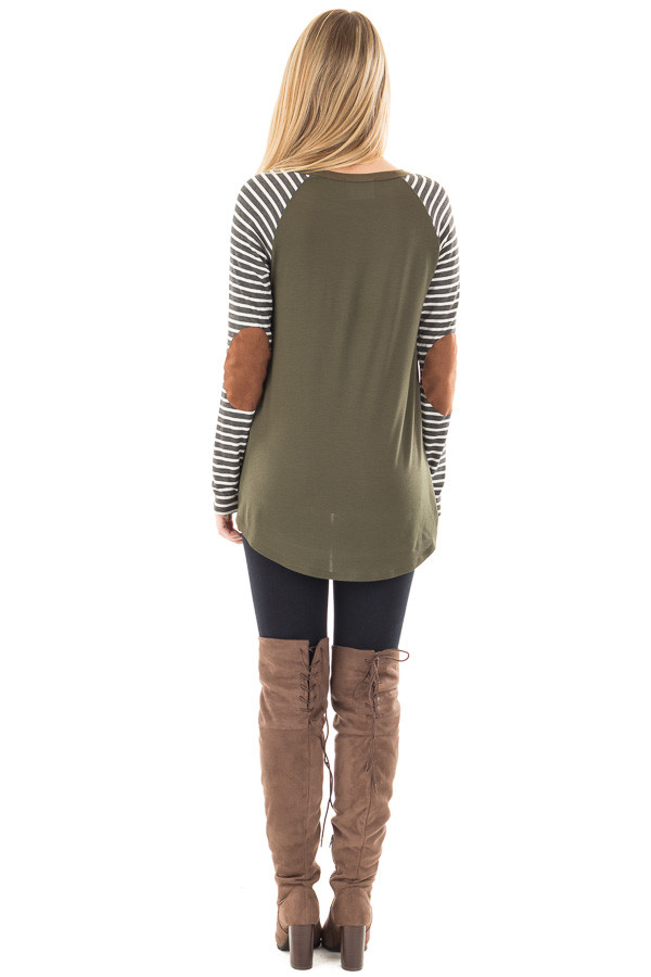 Olive Top with Striped Raglan Sleeves and Elbow Patches back full body