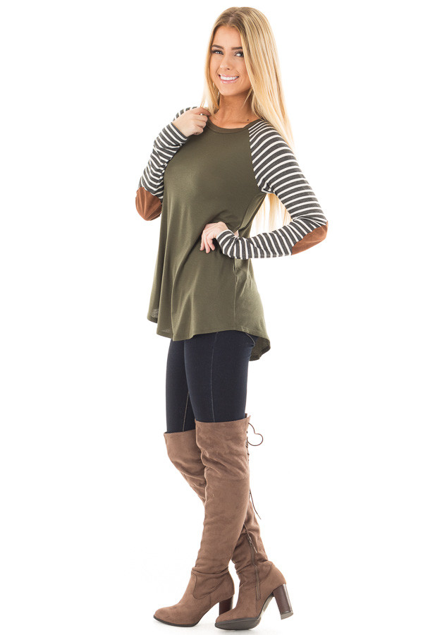 Olive Top with Striped Raglan Sleeves and Elbow Patches side full body