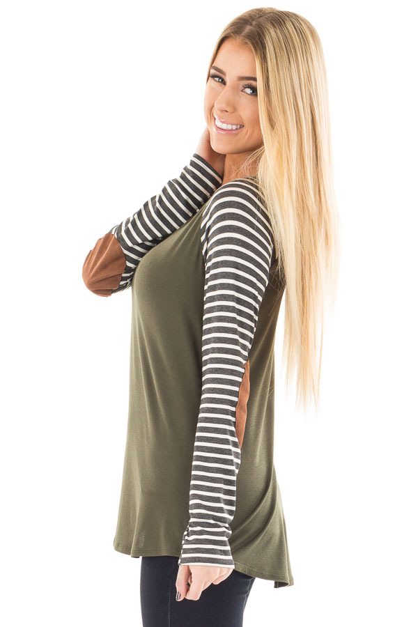 Olive Top with Striped Raglan Sleeves and Elbow Patches side close up