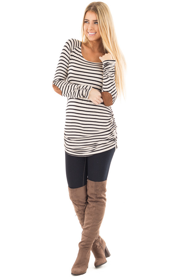 Oatmeal and Black Striped Ruched Top with Elbow Patch Detail front full body
