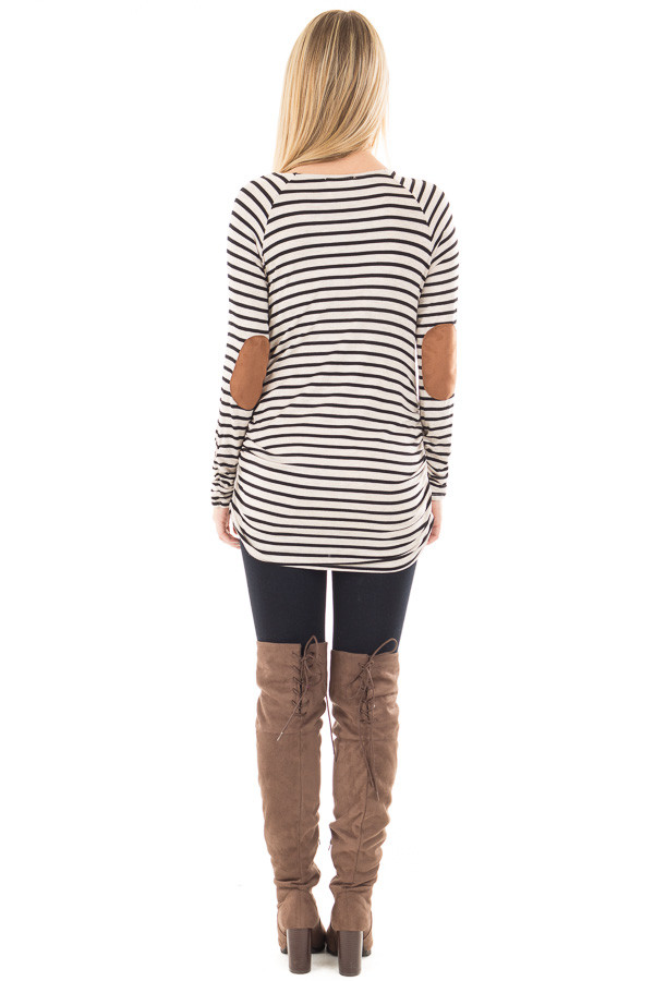 Oatmeal and Black Striped Ruched Top with Elbow Patch Detail back full body