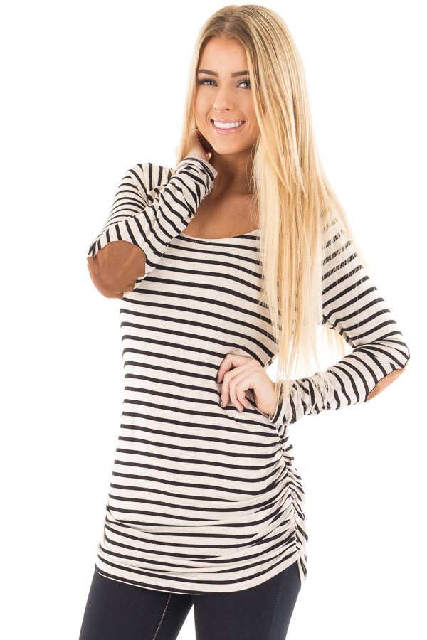 Oatmeal and Black Striped Ruched Top with Elbow Patch Detail front close up