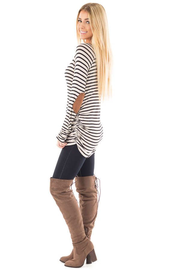 Oatmeal and Black Striped Ruched Top with Elbow Patch Detail side full body
