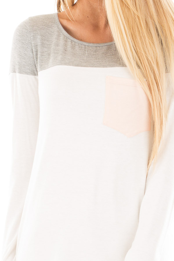 Ivory and Heather Grey Color Block Top with Pocket Detail detail