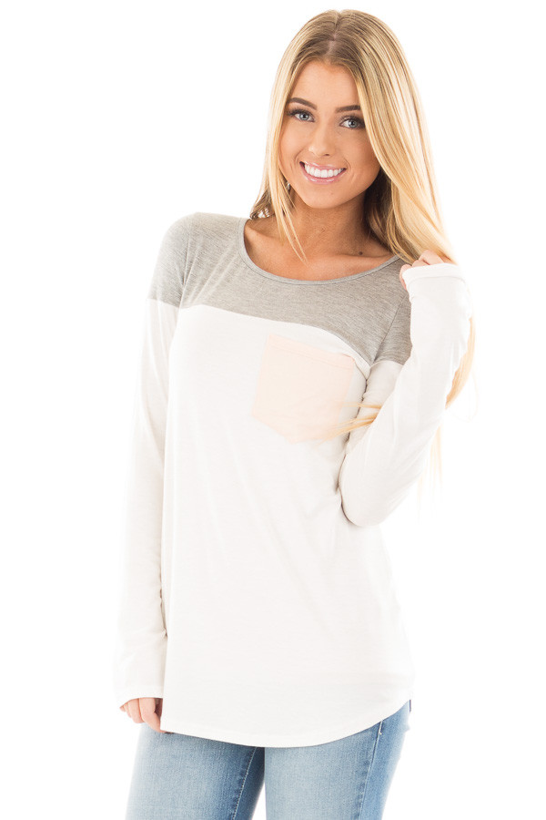 Ivory and Heather Grey Color Block Top with Pocket Detail front close up