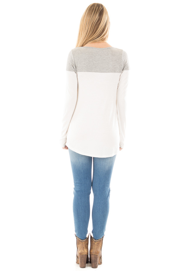 Ivory and Heather Grey Color Block Top with Pocket Detail back full body