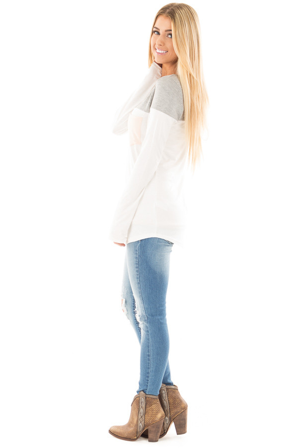 Ivory and Heather Grey Color Block Top with Pocket Detail side full body