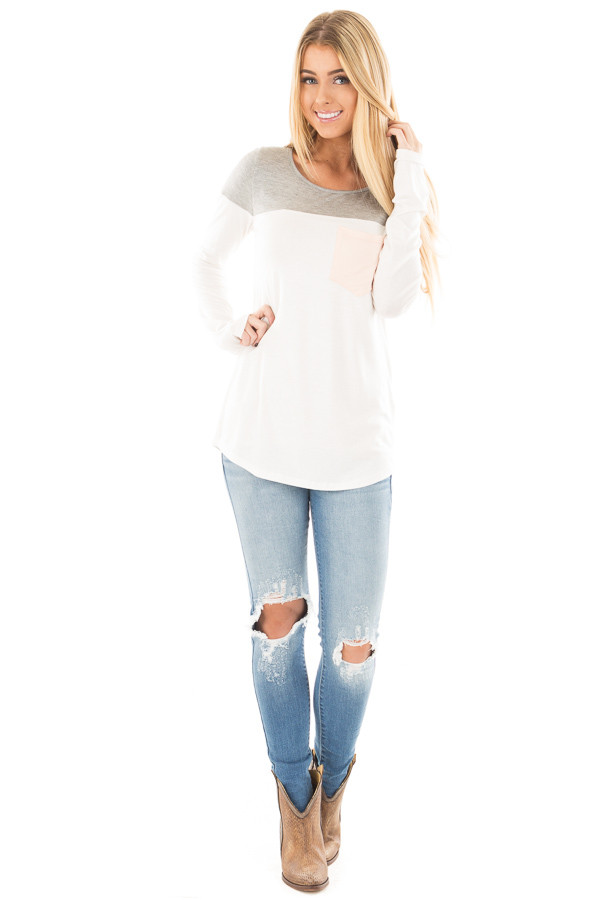 Ivory and Heather Grey Color Block Top with Pocket Detail front full body