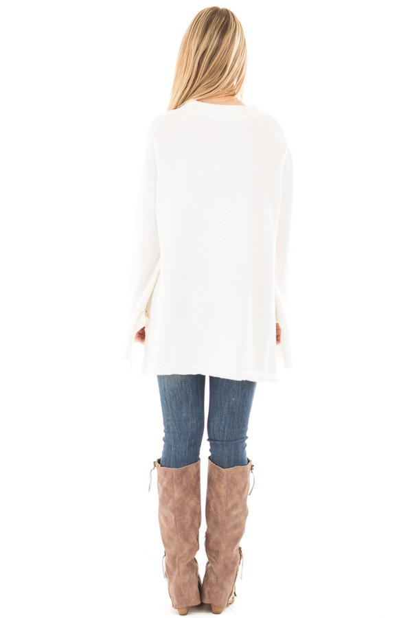 Ivory Sweater with Long Sleeves and Tie Detail back full body