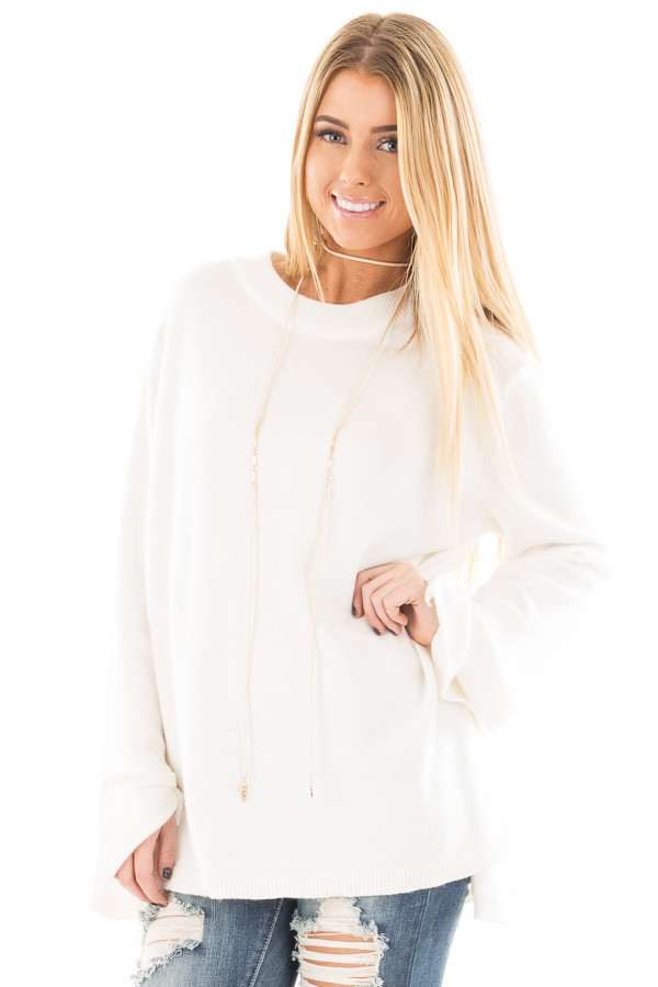 Ivory Sweater with Long Sleeves and Tie Detail front close up