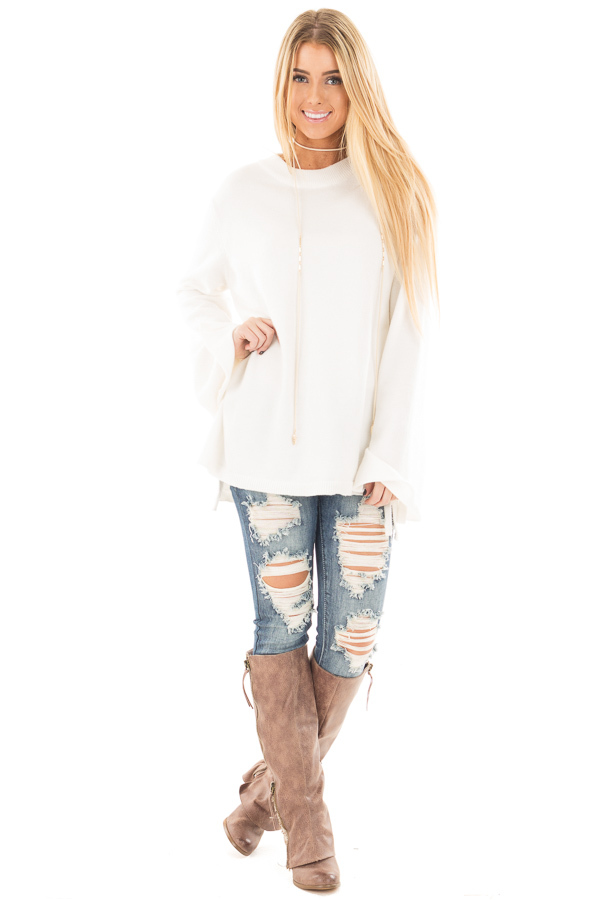Ivory Sweater with Long Sleeves and Tie Detail front full body
