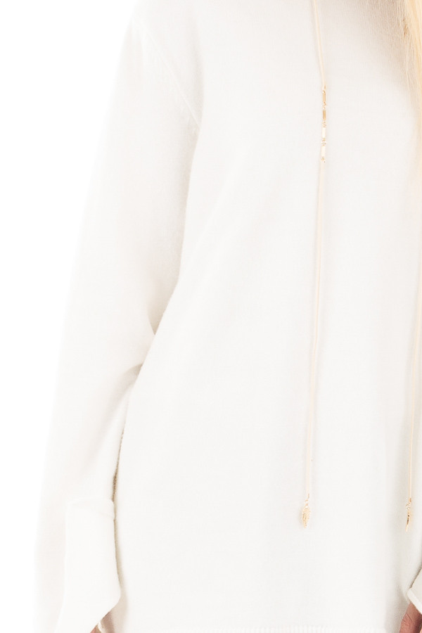 Ivory Sweater with Long Sleeves and Tie Detail detail