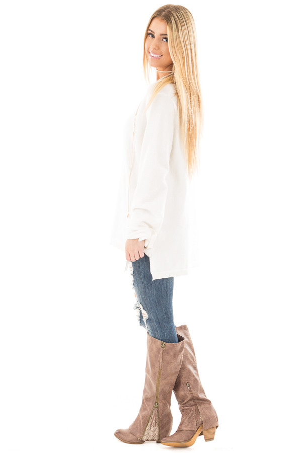 Ivory Sweater with Long Sleeves and Tie Detail side full body