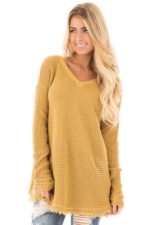Mustard V Neck Knit Sweater with Raw Edge Trimming front close up