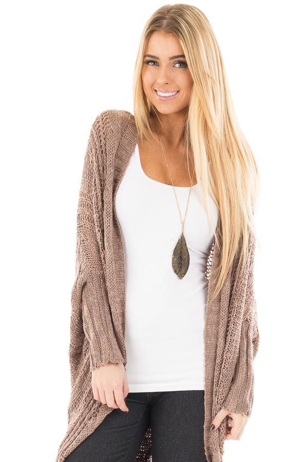 Mocha Loose Cable Knit Open Cardigan front close up