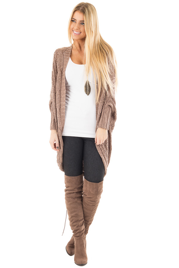 Mocha Loose Cable Knit Open Cardigan front back detail