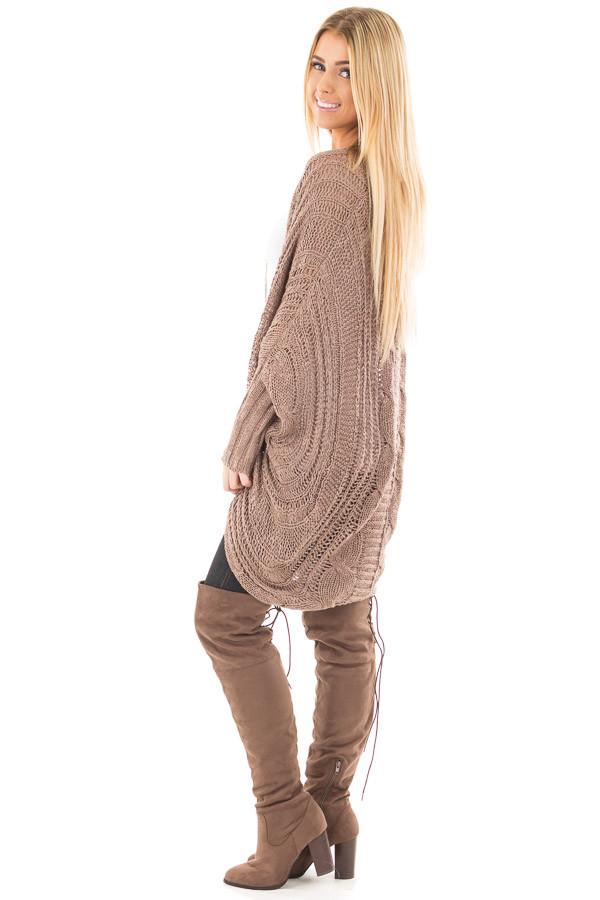 Mocha Loose Cable Knit Open Cardigan side back detail