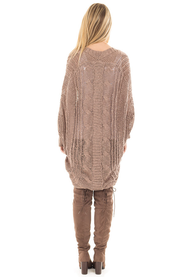 Mocha Loose Cable Knit Open Cardigan back back detail