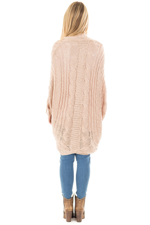 Dusty Rose Loose Cable Knit Open Cardigan back full body