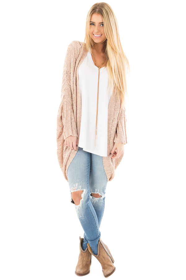 Dusty Rose Loose Cable Knit Open Cardigan front full body