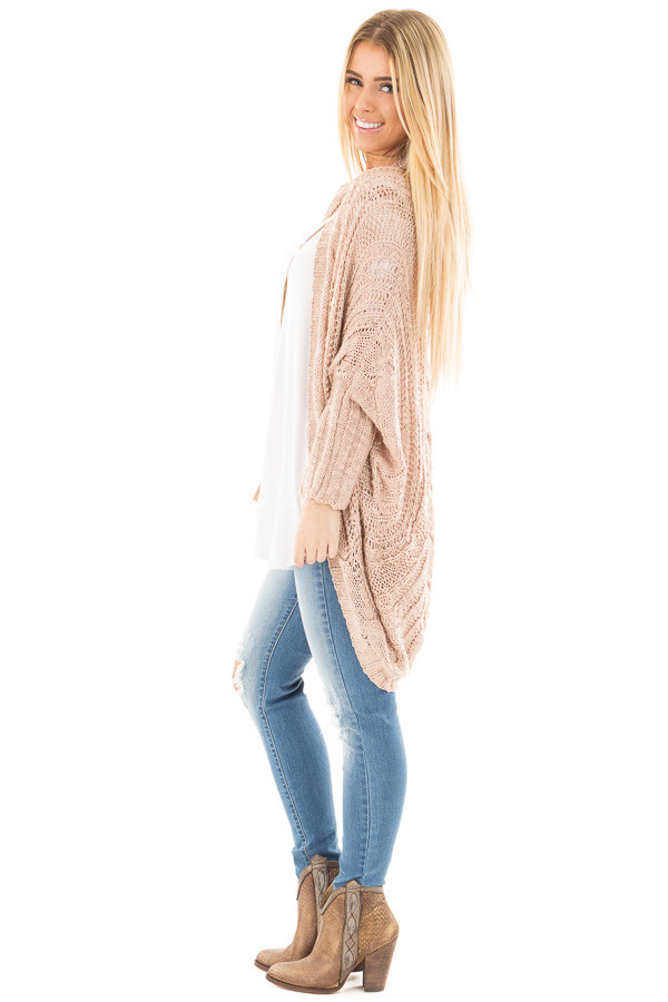 Dusty Rose Loose Cable Knit Open Cardigan side full body