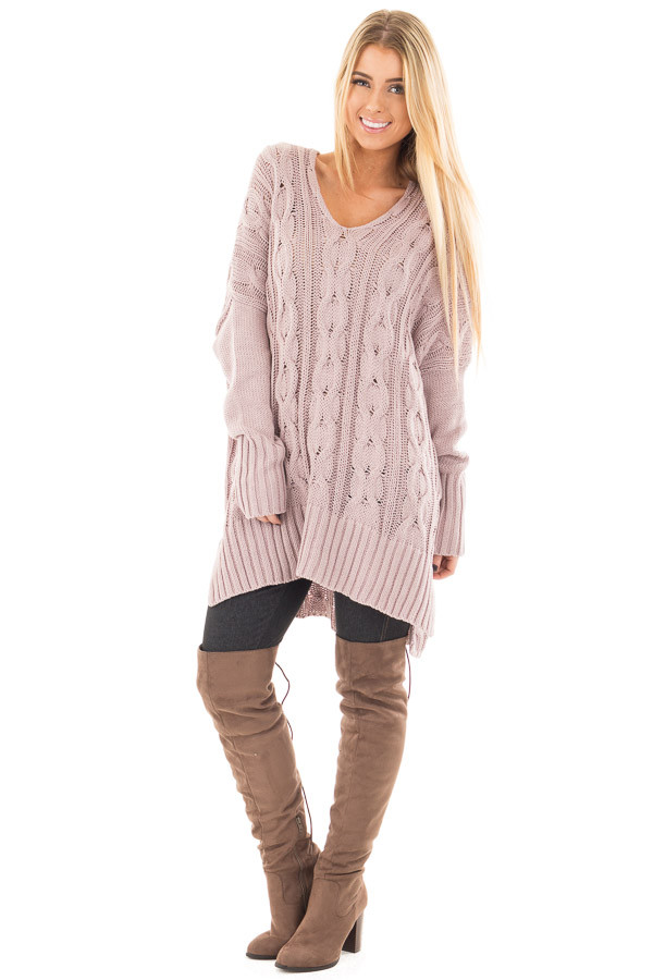 Mauve Cable Knit V Neck Oversized Sweater front full body