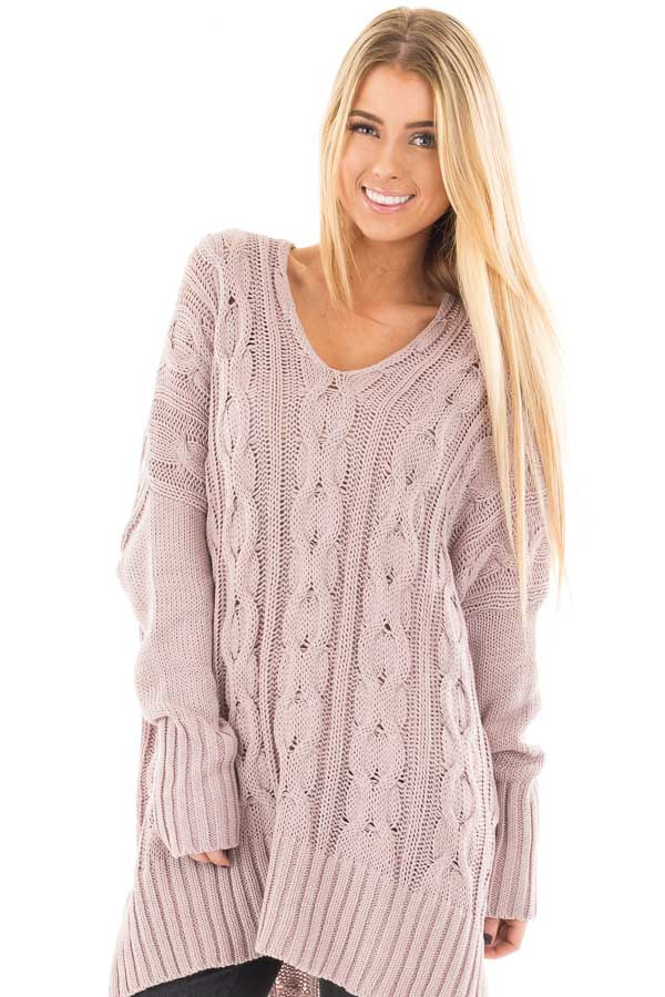 Mauve Cable Knit V Neck Oversized Sweater front close up