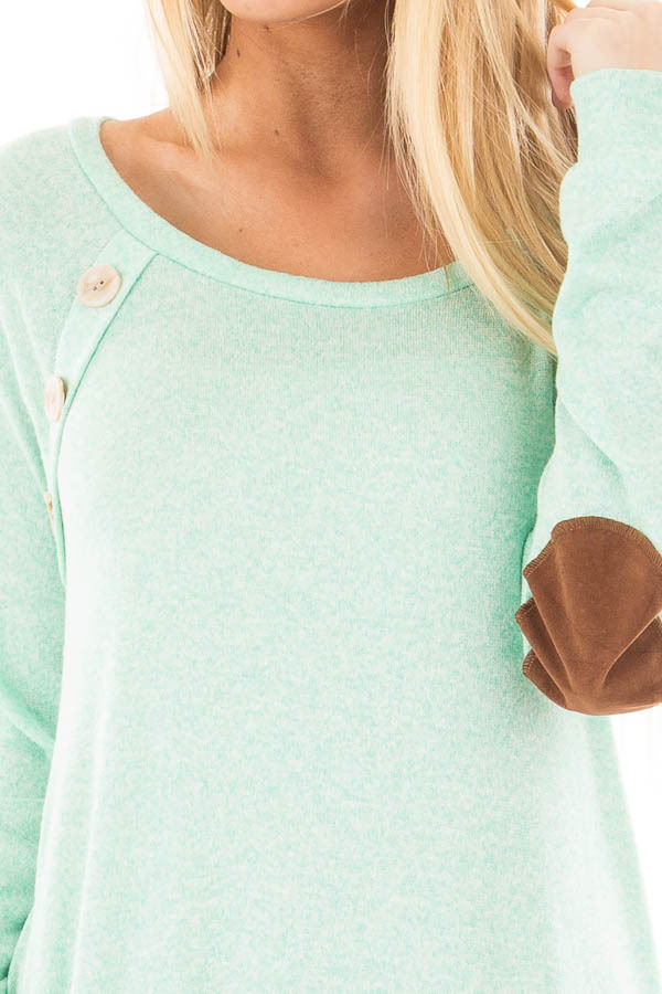 Mint Two Tone Tunic with Pockets and Elbow Patches detail