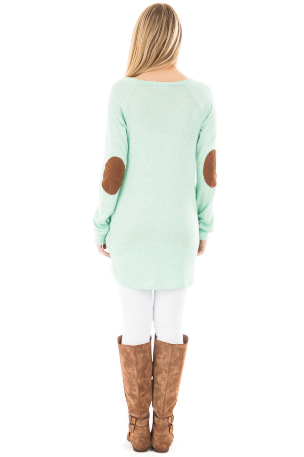 Mint Two Tone Tunic with Pockets and Elbow Patches back full body