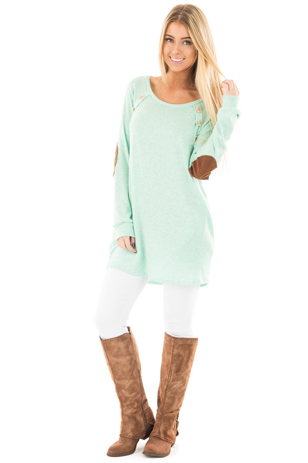 Mint Two Tone Tunic with Pockets and Elbow Patches front full body