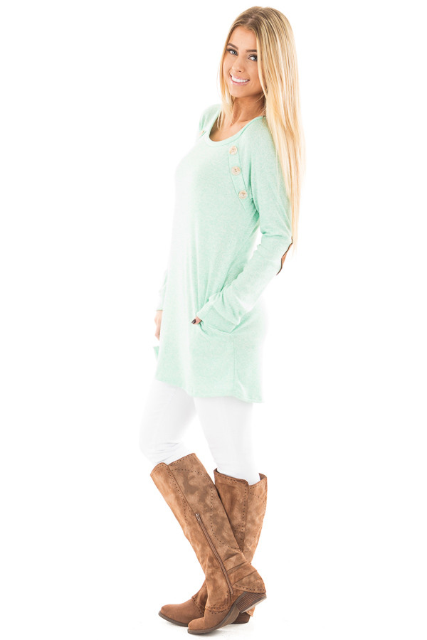 Mint Two Tone Tunic with Pockets and Elbow Patches side full body