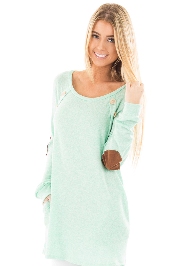 Mint Two Tone Tunic with Pockets and Elbow Patches front close up