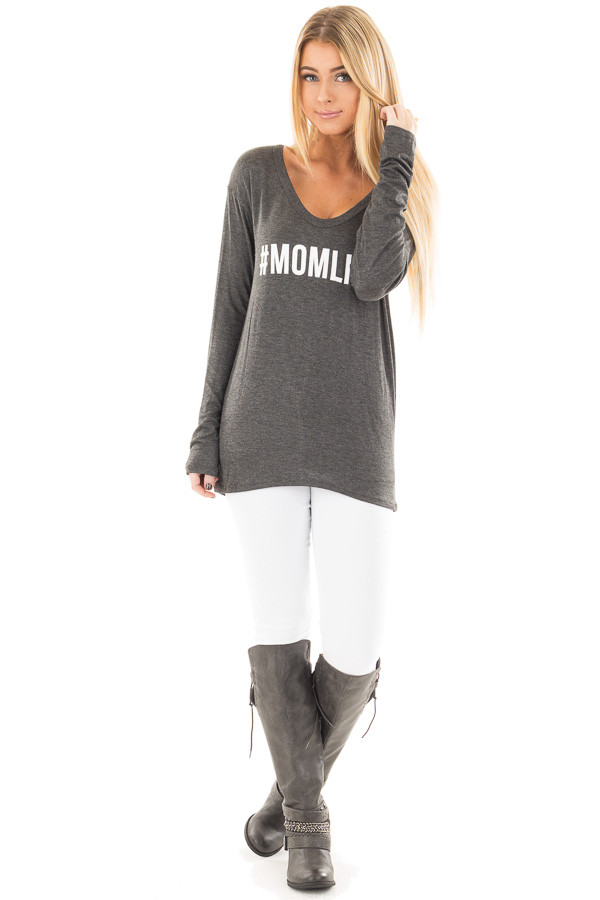 "Charcoal ""#MOMLIFE"" Long Sleeve V Neck Tee front full body"