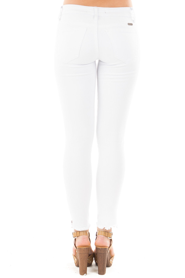 White Skinny Jeans with Zipper and Frayed Edge Detail back view