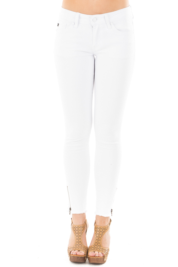 White Skinny Jeans with Zipper and Frayed Edge Detail front view